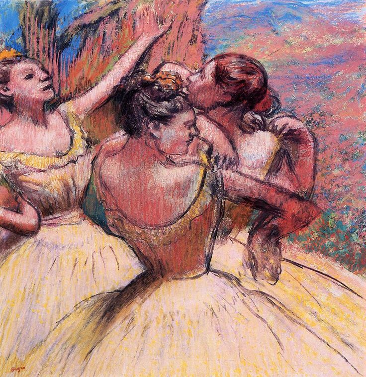 Three Dancers | Pastel | by Edgar Degas.
