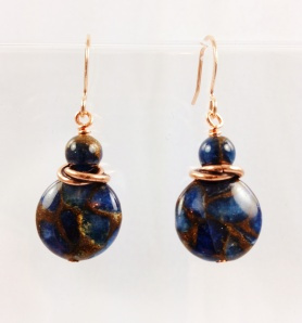 Rose Gold and Blue Jasper Earrings