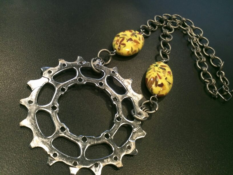 Bicycle Gear Necklace by erra creations