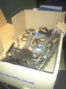 Nicole's raw materials—a box of discarded bicycle parts