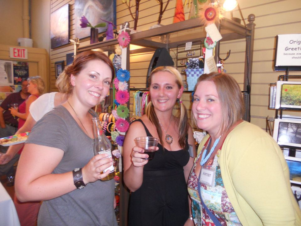 "At the ""Sign of Summer' Party in July 2012, celebrating Koolkat's new trompe l'oeil store sign.   From left to right: Koolkat artists Lucy McClure of Bel Monili, Nicole Bloch of erra creations, and Samantha Bower of Designs by Samantha Pittsburgh."